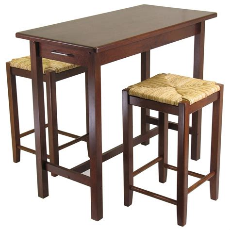 Winsome® 3  Pc Kitchen Island Table With 2 Rush Seat