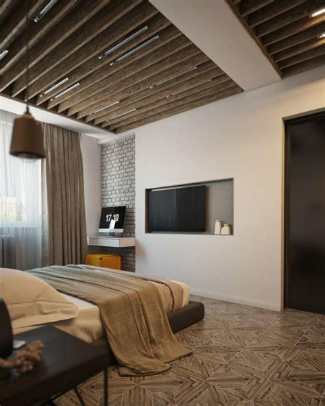 deco plafond chambre poutres bois pour un beau décor dans le style rustique