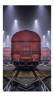 landscape, Train, Railway, Night, Mist, Lights, Shrubs ...