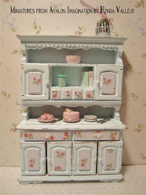 shabby chic blue kitchen reserved for weewinkle miniature shabby chic pastel blue kitchen hutch dresser with rose print