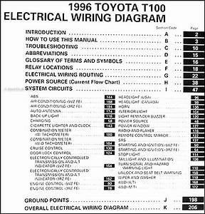 1996 Toyota T100 Truck Wiring Diagram Manual Original