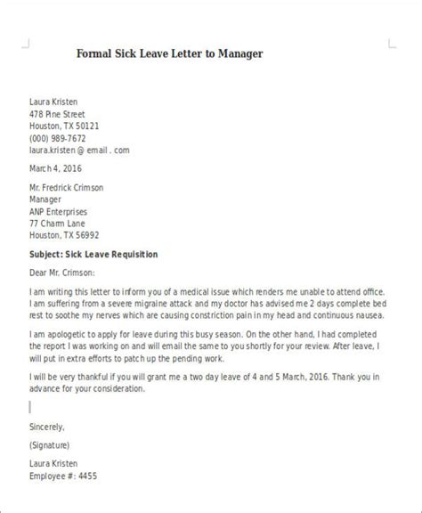 formal sick leave letters  word