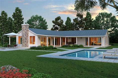 modern  shaped farmhouse plan cliff  style ranch