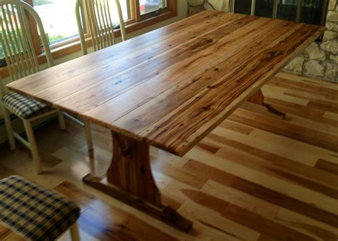 custom antique hickory table   trestle base barn