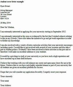 Student cover letter example learnistorg for Cover letter examples for students in university
