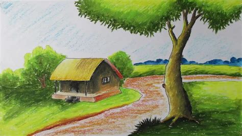 Village Boat Drawing by How To Draw A Village Landscape With Oil Pastels Episode