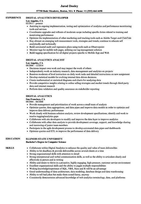digital analytics resume samples velvet jobs