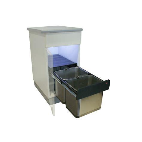 poubelle cuisine encastrable poubelle basse 2 bacs 30l inox