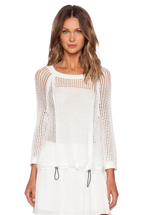 mesh sweater 1 state 3 4 sleeve open mesh sweater in white lyst