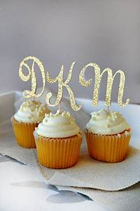 initial letter cupcake toppers set of 12 handcrafted in With letter cupcake picks