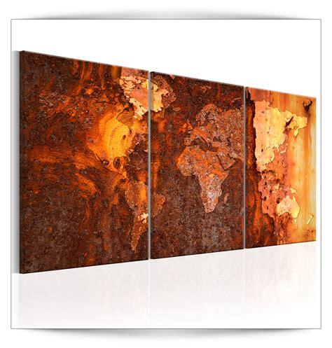 Bilder Leinwand by Leinwand Bilder Weltkarte Stahl Kupfer Rost Abstrakt
