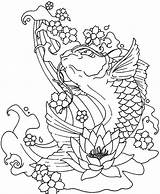 Coloring Koi Fish Pages Water Jumping Cycle Coy Japanese Land Lotus Plants Underwater Printable Drinking Blooming Getcolorings Jellyfish Box Play sketch template
