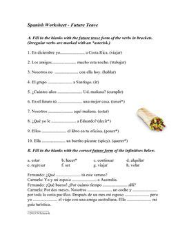 Spanish Future Tense Worksheet  El Futuro  Spanish & German Resources  Pinterest Irregular