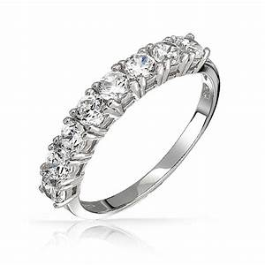 925 sterling silver half eternity ring wedding band cz With wedding band eternity ring