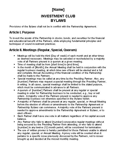 investment club bylaws