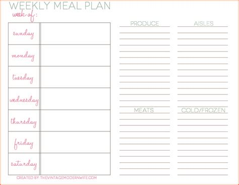 weekly meal planner template bookletemplateorg