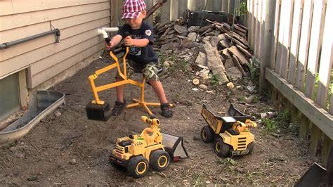outdoor excavator kids toy youtube