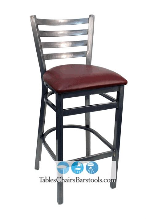 gladiator clear coat ladder back metal bar stool w wine