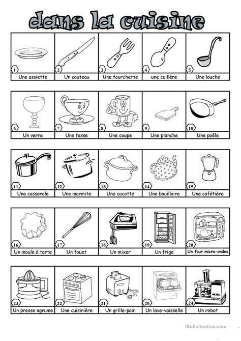 vocabulaire ustensiles de cuisine dans la cuisine fiche d 39 exercices fiches pédagogiques