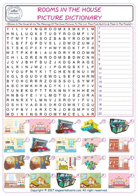 rooms   house esl printable english vocabulary worksheets