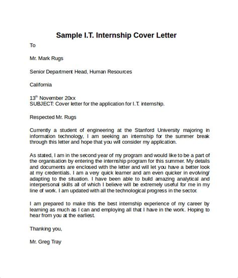 Sle Cover Letter For Internship In Information Technology by 8 Information Technology Cover Letter Templates To