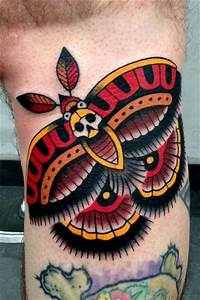 Arm Old School Moth Tattoo by Montalvo Tattoos
