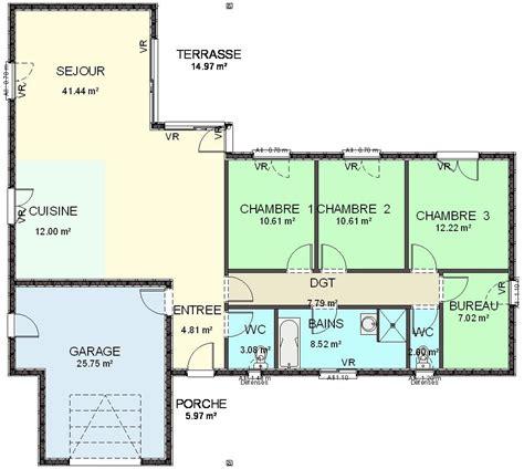 plan maison en l 4 chambres affordable awesome plan maison plein pied fr ue plan