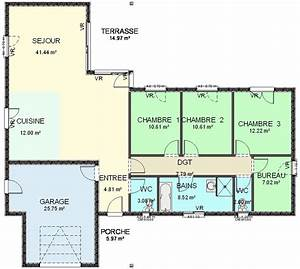 plan maison ossature bois plain pied 2 chambres segu maison With plan maison ossature bois plain pied 4 chambres