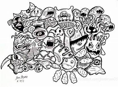 Doodle Coloring Pages Doodling Doodles Monsters Vexx