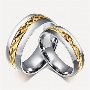 stainless steel gold diamond cut center wedding ring no stone With no wedding ring