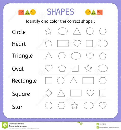 identify color identify and color the correct shape learn shapes and
