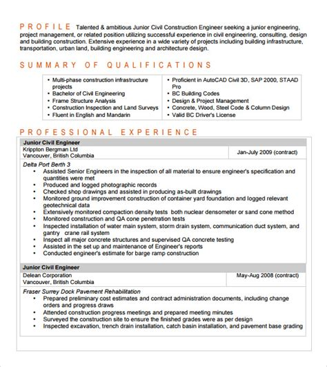 7+ Sample Civil Engineer Resume Templates  Free Samples
