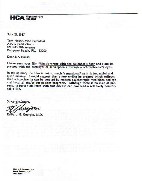 Letter from HCA | Hospital Corporation of Florida | Edward ...