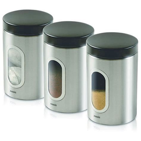 Kitchen Canister Sets Stainless Steel by Kitchen Canisters Set Of 3 Silver Stainless Steel