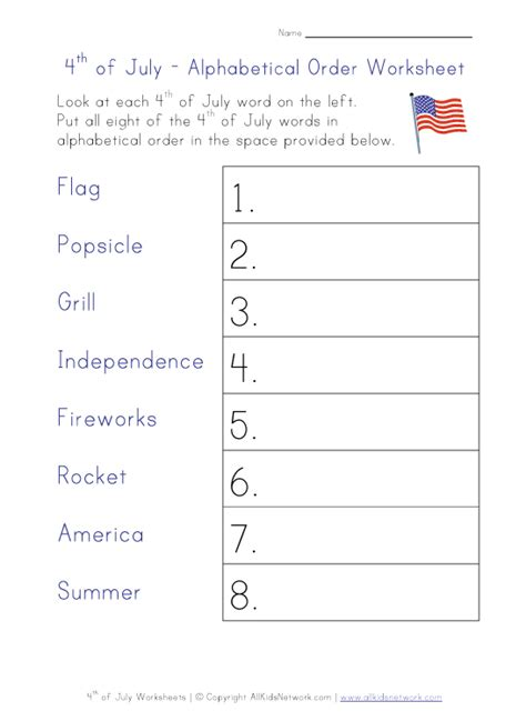 4th of july alphabetical order worksheet