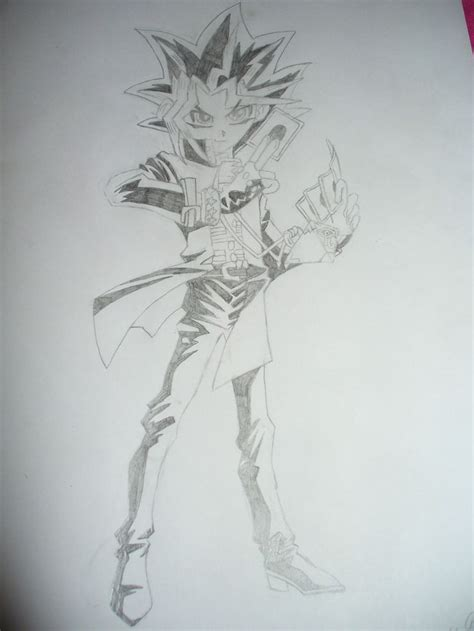 pencil shaded drawing  yami yugi  yu gi