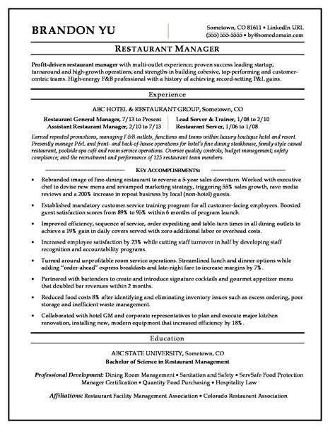 restaurant manager resume sle