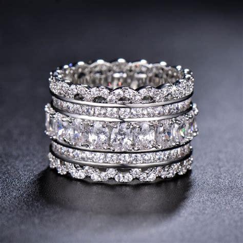 unique wedding band art deco cubic zirconia ring