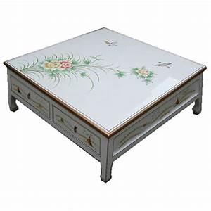 Table De Salon Carrée : table de salon carr e 4 tiroirs meubles ~ Teatrodelosmanantiales.com Idées de Décoration