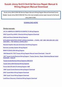 Suzuki Jimny Sn413 Sn415d Workshop Service Repair Manual Wiring Diagram Manual