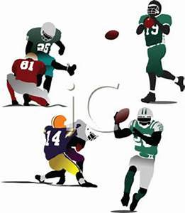 A Colorful Cartoon of Football Players At Practice ...