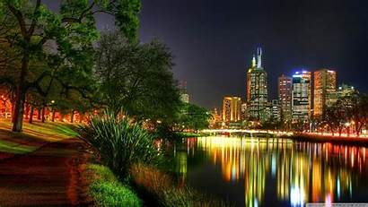 Melbourne Night Desktop Wallpapers Park 4k Background