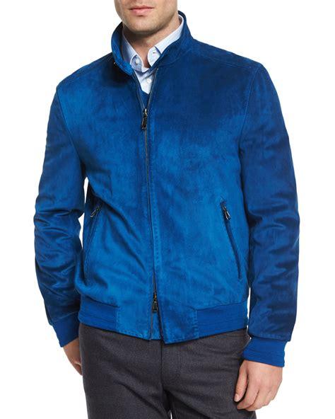 brioni suede bomber jacket  blue  men lyst