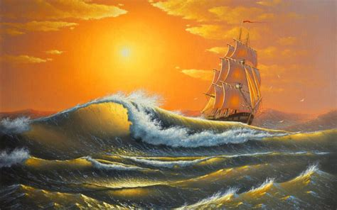 wild ocean ship orange sunset wallpapers wild ocean ship