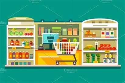 Supermarket Illustration Interior Flat Market Creativemarket Creative