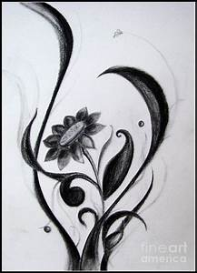 Black Flowers Abstract Charcoal Art Drawing by Prajakta P