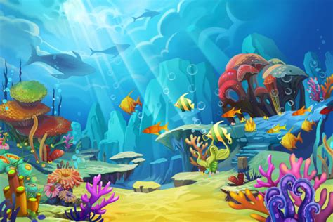 Bedroom Paint Ideas - illustration the mountain in the sea fish is like bird design fantastic style custom