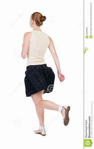 Back View Of Running Woman In Dress Stock Image - Image ...