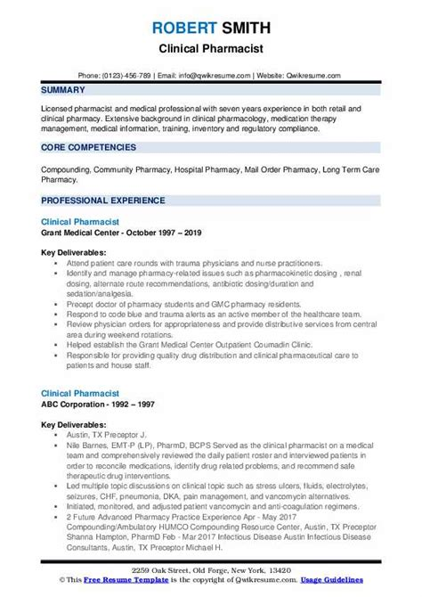 Consultants aim to improve an organisation's position or profile by helping to solve problems, manage change and although the workload can be heavy, consulting is a sociable profession with plenty of networking opportunities. Clinical Pharmacist Resume Samples | QwikResume