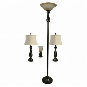 shop portfolio baybrook 4 piece lamp set with bronze With uplight floor lamp lowes